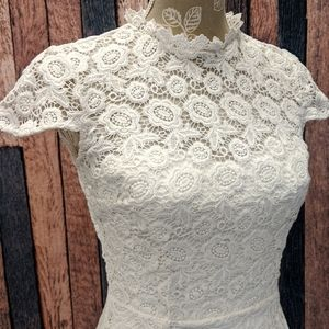 Happily Ever Laughter Lace A-Line Dress in White